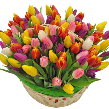 "Basket ""101 bright tulips"" – from Flowers.ua"