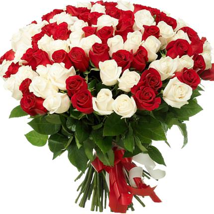 101 red and white rose  - buy in Ukraine