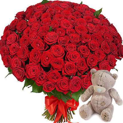 101 red roses with teddy  - buy in Ukraine