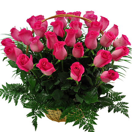 "Basket ""35 pink roses""  - buy in Ukraine"
