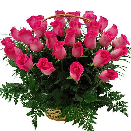"Basket ""35 pink roses""  - buy in Ukraine"