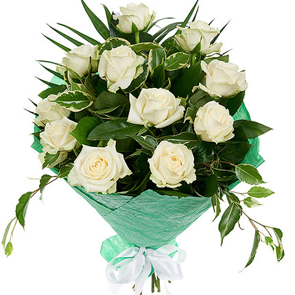 11 білих троянд  - придбати в Україні