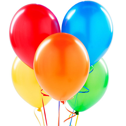 5 multicolored balloons
