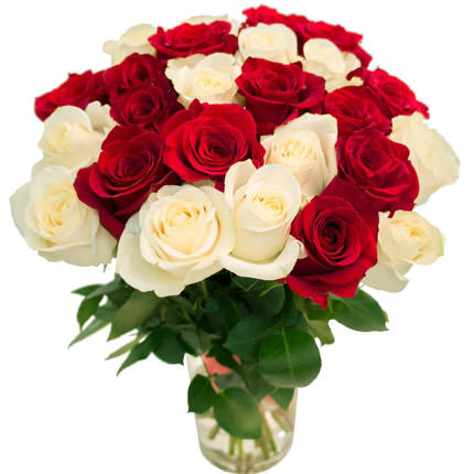 25 red and white roses  - buy in Ukraine