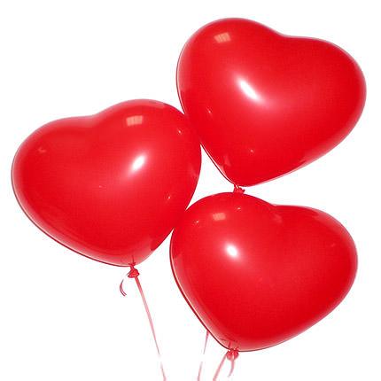 3 гелиевых шарика (красные сердца)  - купить в Украине