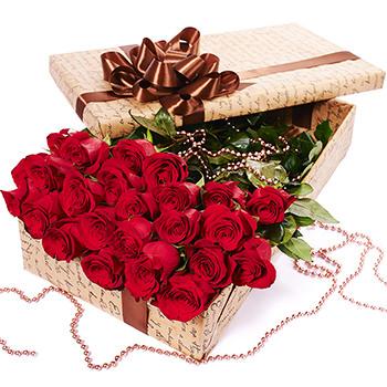"""Цветы в коробке """"25 красных роз""""  - купить в Украине"""