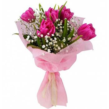 5 рожевих тюльпанів  - придбати в Україні