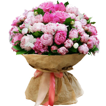 51 multicolored peonies  - buy in Ukraine