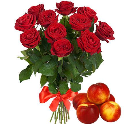 11 червоних троянд + нектарини  - придбати в Україні