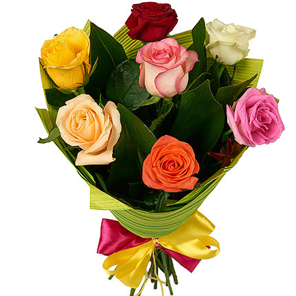 7 multicolored roses  - buy in Ukraine