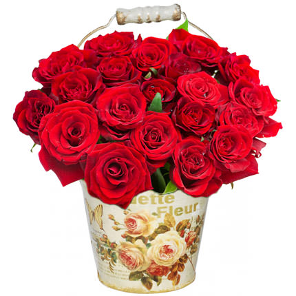"Bouquet in a pot ""21 scarlet roses""  - buy in Ukraine"