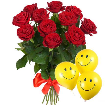 11 красных роз с воздушными шарами  - купить в Украине