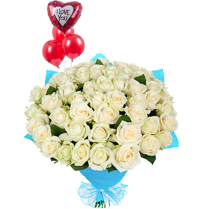 51 white roses with balloons  - buy in Ukraine