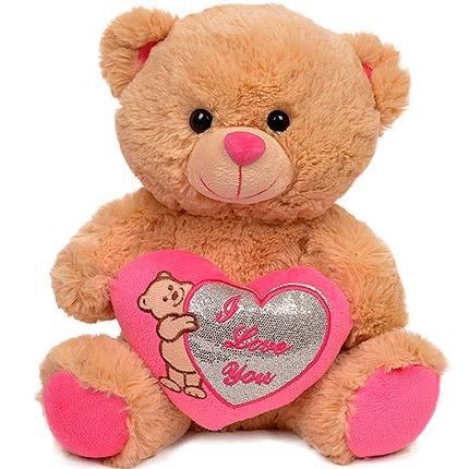 Мишка коричневый (с розовым сердцем)  - купить в Украине