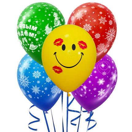 5 разноцветных гелиевых шариков (новогодние)  - купить в Украине