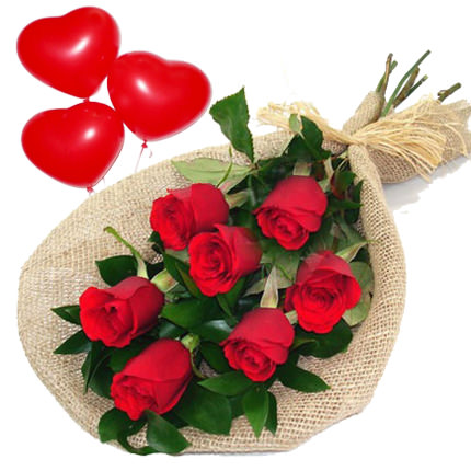 7 red roses with balloons  - buy in Ukraine