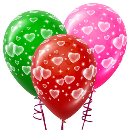 3 разноцветных шарика с сердцами  - купить в Украине