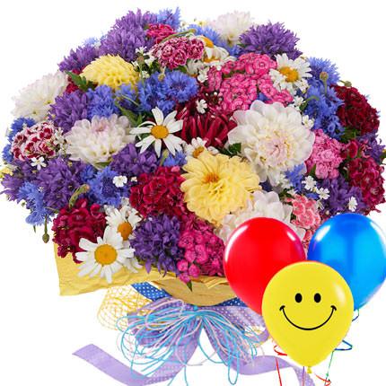 """Букет """"Полевые цветы"""" с воздушными шариками  - купить в Украине"""
