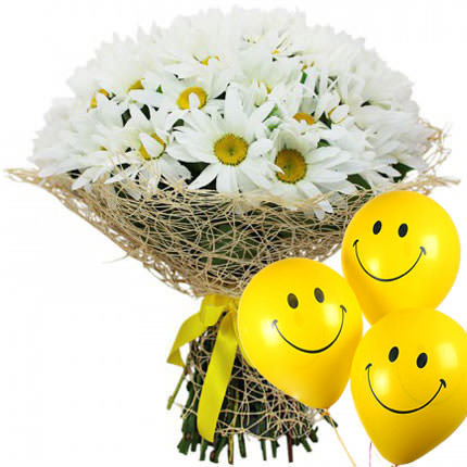 "Bouquet ""25 camomiles"" with balloons  - buy in Ukraine"