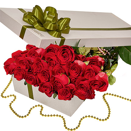 """Цветы в коробке """"25 красных роз!""""  - купить в Украине"""