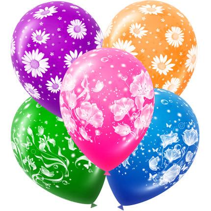 5 разноцветных шариков (принт - цветы)  - купить в Украине