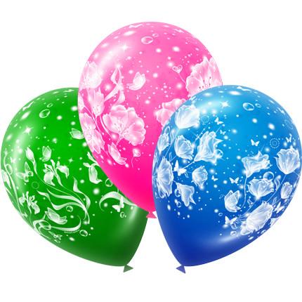 3 разноцветных шарика (принт - цветы)  - купить в Украине
