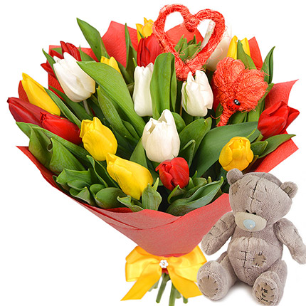 "Bouquet ""Two Hearts!"" (with teddy bear)  - buy in Ukraine"