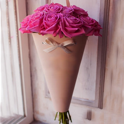 "Bouquet in the cone-package ""11 pink roses""  - buy in Ukraine"