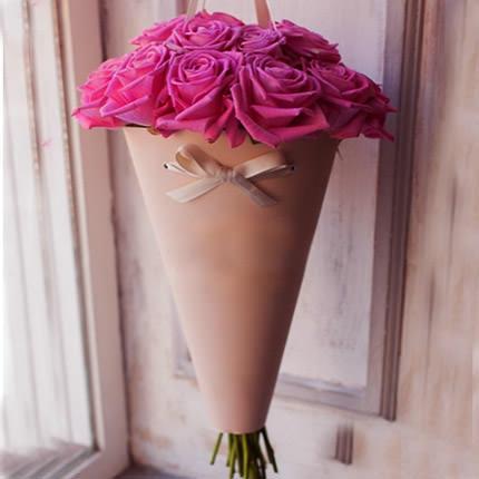 """Букет в конус-пакете """"11 розовых роз""""  - купить в Украине"""