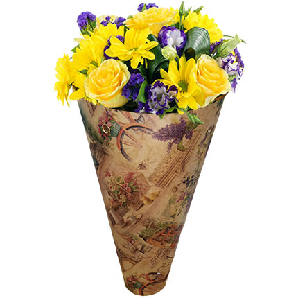 "Bouquet in the cone-package ""Color of happiness""  - buy in Ukraine"