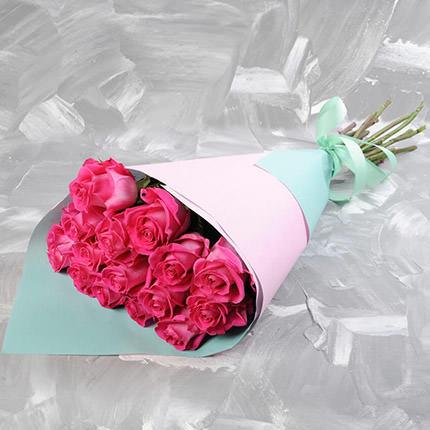 Bouquet of 15 pink roses  - buy in Ukraine