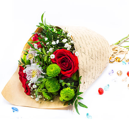 Mixed bouquet of flowers (green chrysanthemum)  - buy in Ukraine