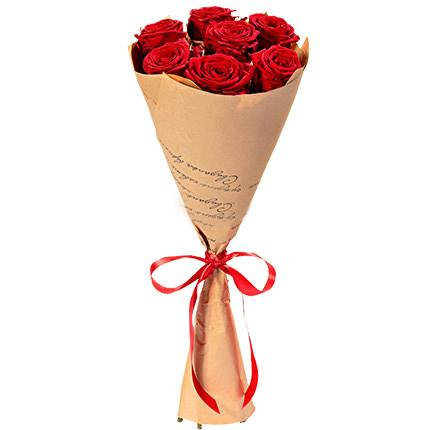 Букет з 7 червоних троянд  - придбати в Україні