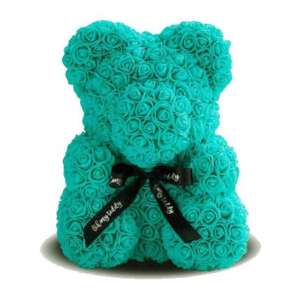 Мишка из роз (бирюзовый)  - купить в Украине