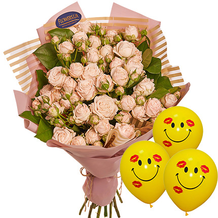 "Bouquet of roses ""Beautiful far"" with balloons  - buy in Ukraine"