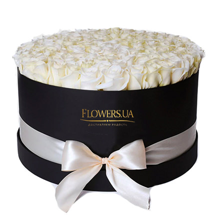 "Flowers in a box ""101 white roses""  - buy in Ukraine"