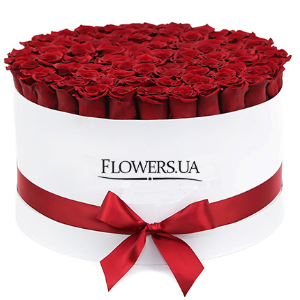"Flowers in a white box ""101 red roses""  - buy in Ukraine"
