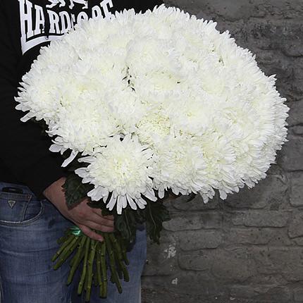 25 білих хризантем  - придбати в Україні