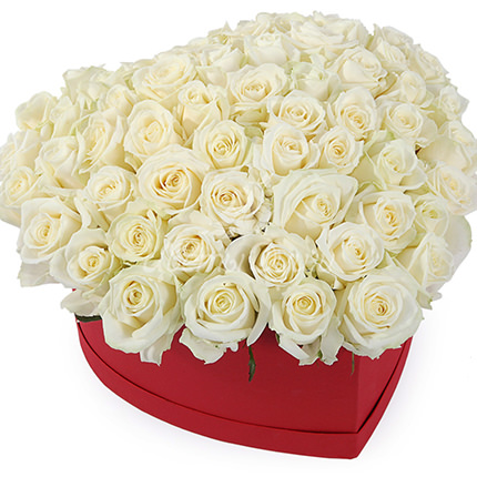 "Composition in a box ""51 white roses""  - buy in Ukraine"