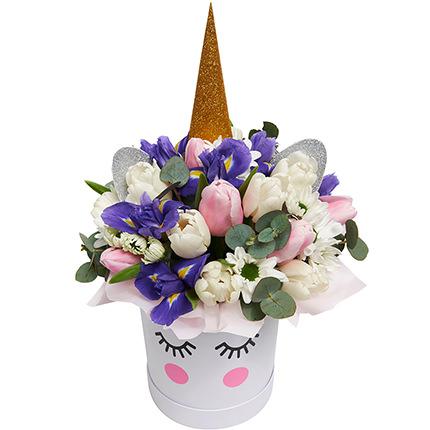 """Весенние цветы в коробке """"Единорог!""""  - купить в Украине"""