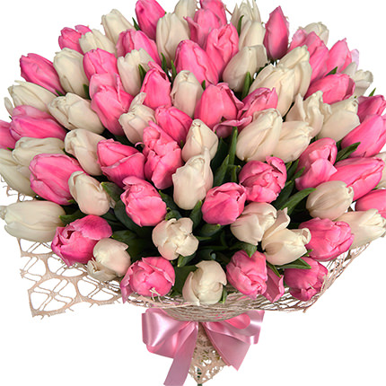 """Bouquet """"51 white and pink tulips""""  - buy in Ukraine"""