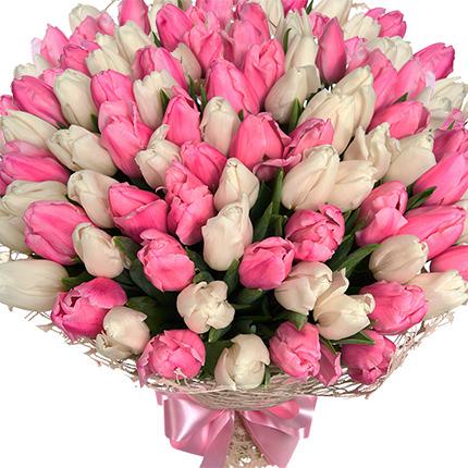 """Букет """"101 белый и розовый тюльпан""""  - купить в Украине"""