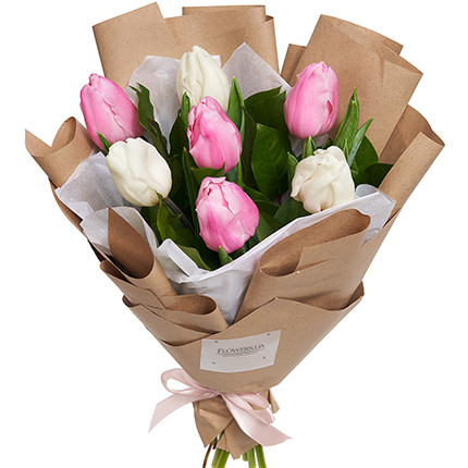 7 white and pink tulips  - buy in Ukraine