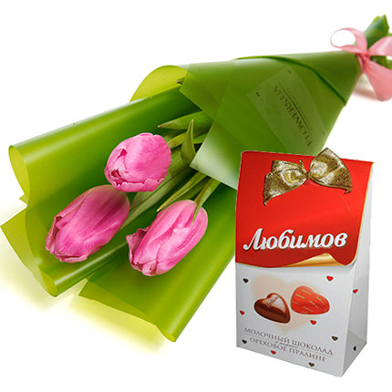 "3 pink tulips + ""Lyubimov""  - buy in Ukraine"