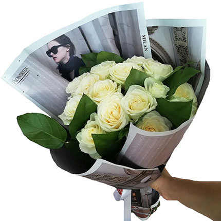 "Author's bouquet ""15 white roses""  - buy in Ukraine"