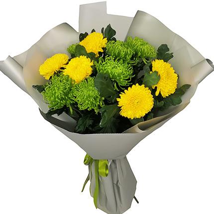 11 жовтих і зелених хризантем  - придбати в Україні