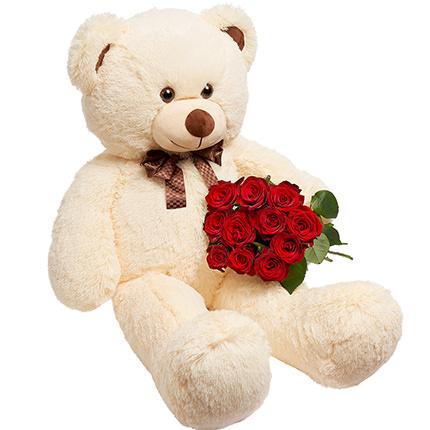 Гигантский мишка и 11 красных роз  - купить в Украине