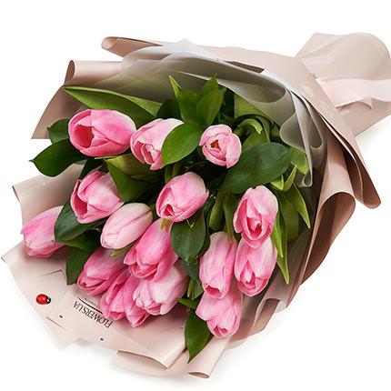 """Букет """"15 розовых тюльпанов""""  - купить в Украине"""