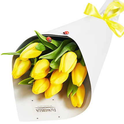 """Spring bouquet """"9 yellow tulips""""  - buy in Ukraine"""