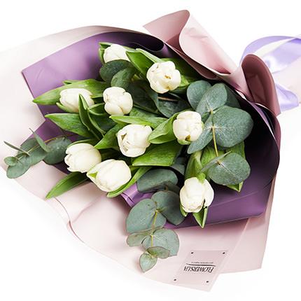 """Букет """"9 белых тюльпанов""""  - купить в Украине"""